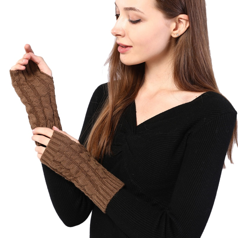 Arm Warmers Women Winter Combing Fine Wool Cable Fingerless Gloves Thick Soft Knitted Woolen Thumb-hole Arm Sleeve