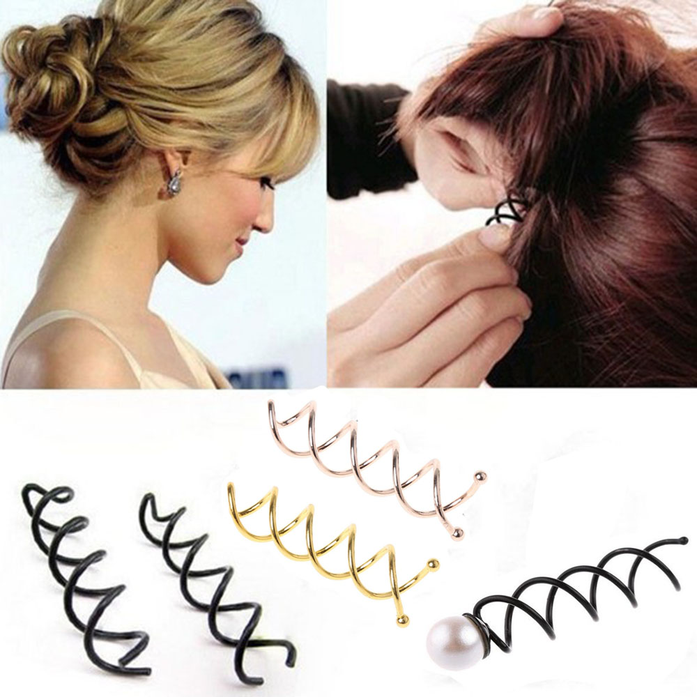 2Pcs New Hair Accessories Women Spiral Spin Screw Bobby Pin Pearl Hair Clip Ladies Twist Barrette Black/Gold