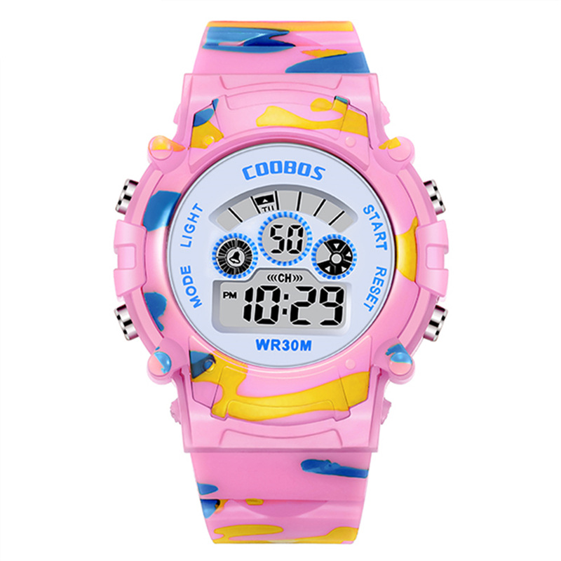 Electronic Watch Children's Watch Colorful Night Light Waterproof Multi-functional Male And Female Student Electronic Watch