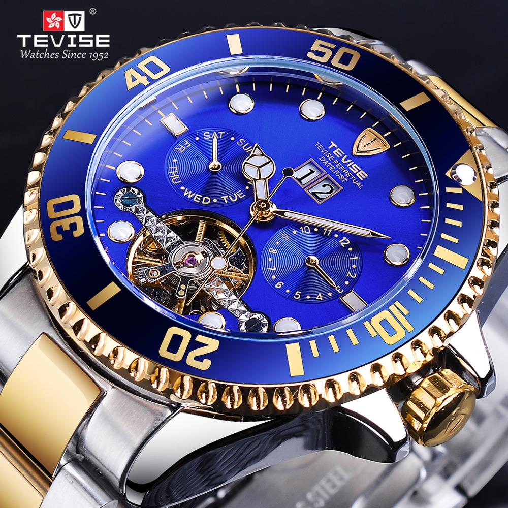 TEVISE Tourbillion Calendar Gold Royal Navy Blue Men Automatic Brand Sport Watch Top Luxury Hour Male Waterproof Military Design