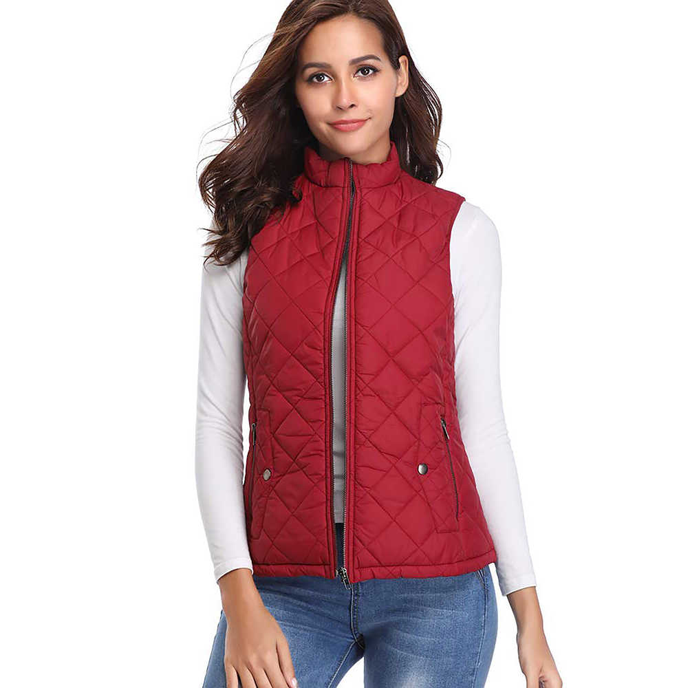 Vest Women 2019 Winter Women's Stand Collar Lightweight Padded Zip Vest Quilted Gilet Chalecos Para Mujer
