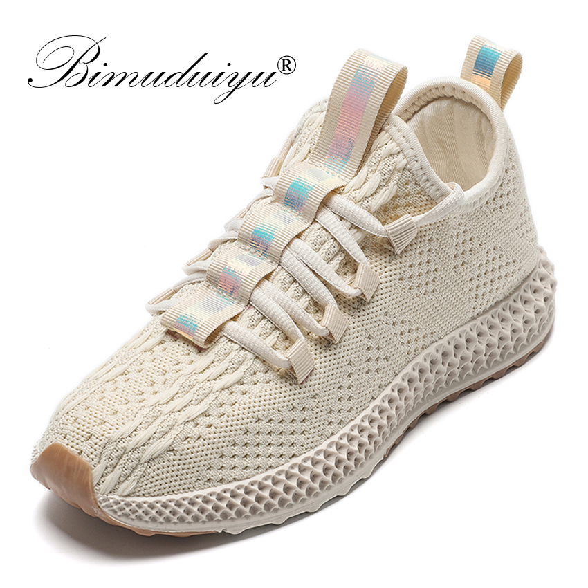BIMUDUIYU Woman Casual Shoes Breathable 2020 Fashion Mesh  Sneakers Spring Autumn Ladies Vulcanized Flat Shoes High Quality
