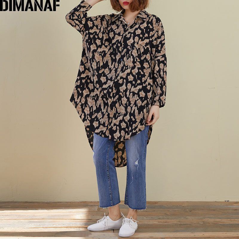 DIMANAF Plus Size Women Blouse Shirts Spring Summer Lady Tops Tunic Oversize Chiffon Vintage Leopard Loose Casual Long Sleeve
