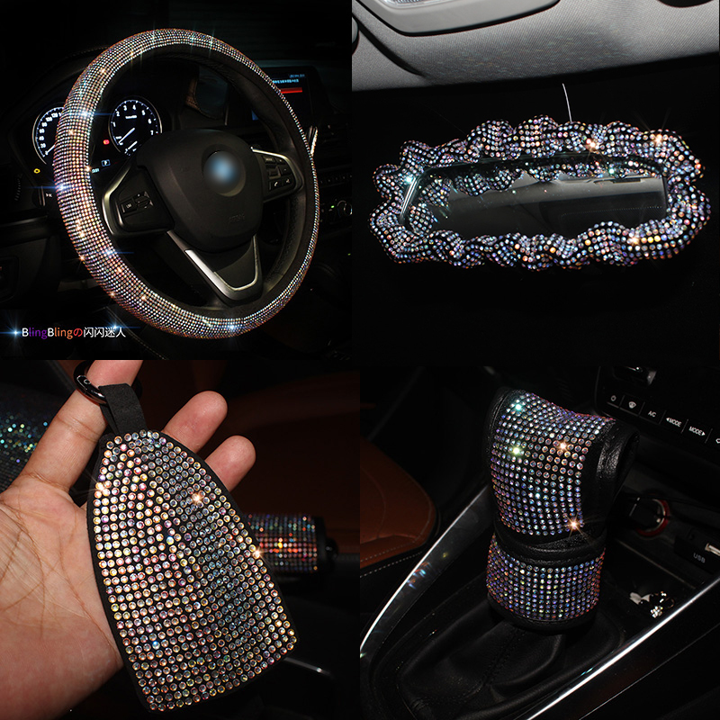 Rhinestones Crystal Colorful Luxury Car Seat Belt Cover Pad Steering Wheel Cover Gear Cover Auto Interior Accessories