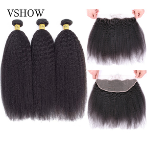 VSHOW Kinky Straight Hair 3 Bundles With 13x4 Lace Frontal Brazilian Yaki Remy Hair Pre Pluck Lace Frontal Closure With Bundles(China)