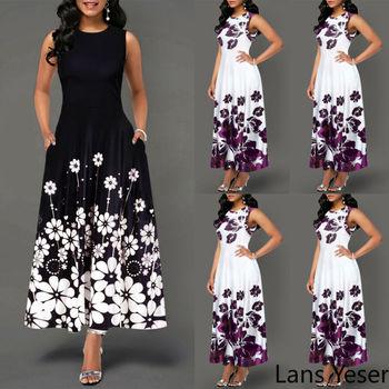 2020 Elegant Women's Floral Print Long Maxi Dress Evening Party Beach Dress Summer Sleeveless Long Flower Sundress Midi Dress цена 2017