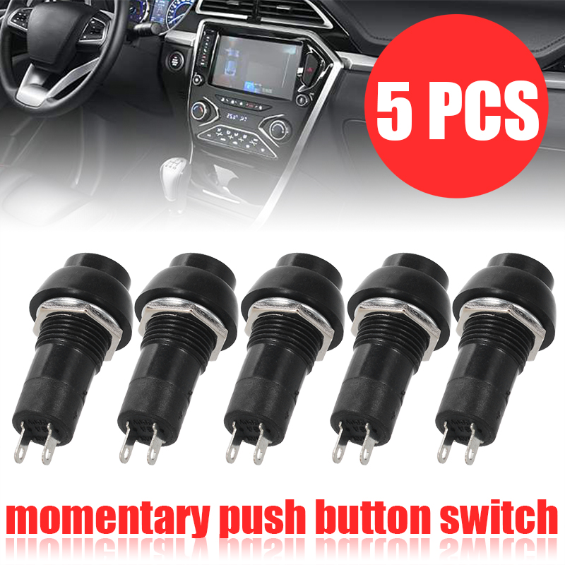 New Set 5pcs 1A/250V 20A/12V Dashboard Boat SPST On-Off Momentary Push Button Horn Switches Black for Car Interior