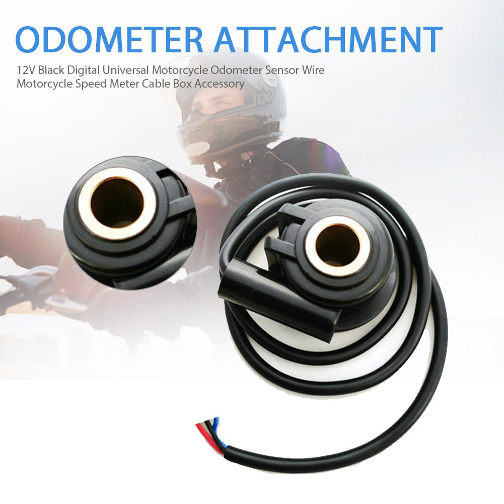 12V Black Digital Universal Motorcycle Odometer Sensor Wire Motorcycle Speed Meter Cable Box Accessory