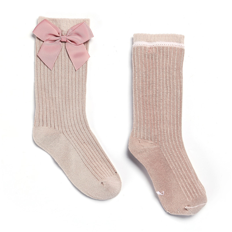 Solid Children Socks With Bows Cotton Baby Girls Socks Soft Toddlers Long Socks For Kids Princess Knee High Socks for Girls 2020 4