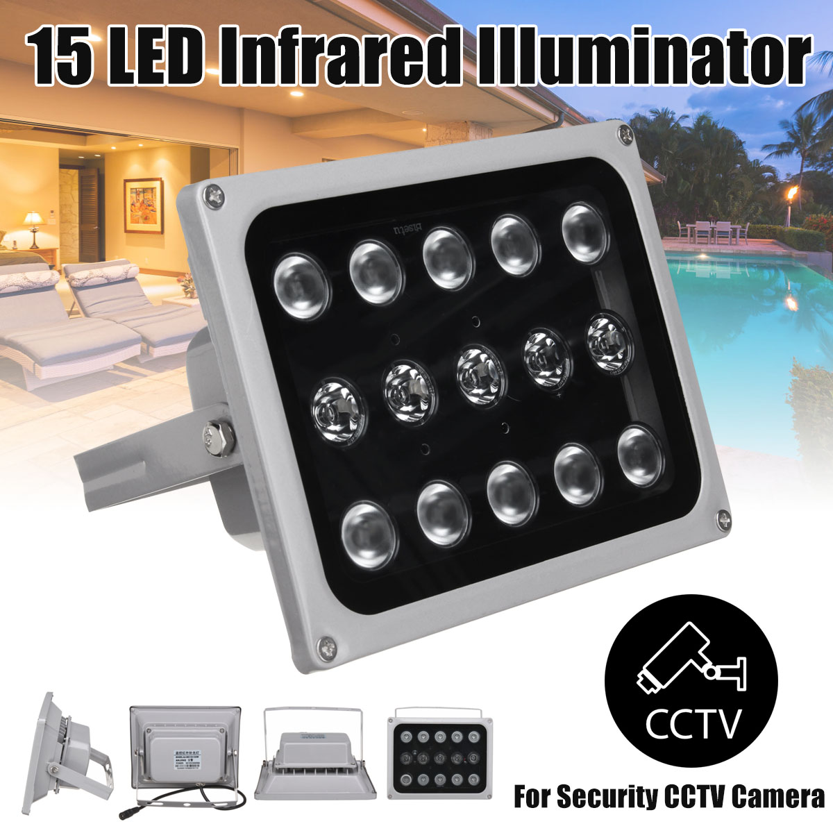 12V Infrared Light Lamp 15 LED Night Vision Metal Waterproof Fill Light For Outdoor CCTV Security Accessories