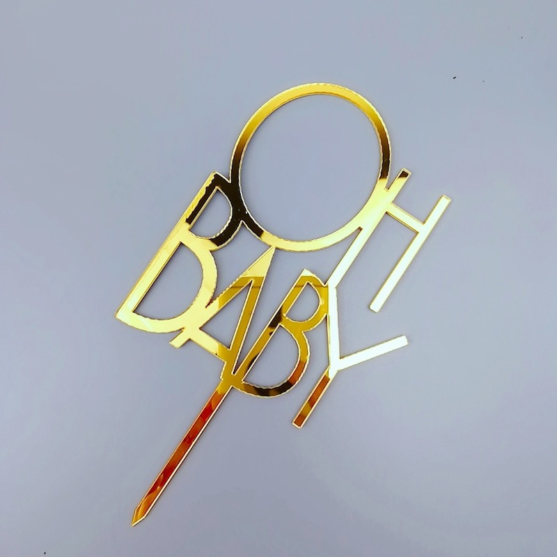 OH Baby Acrylic Cake Topper Gold Hello Baby Sunshine Cupcake Topper For Baby Shower Kids Gilrs Birthday Party Cake Decorations