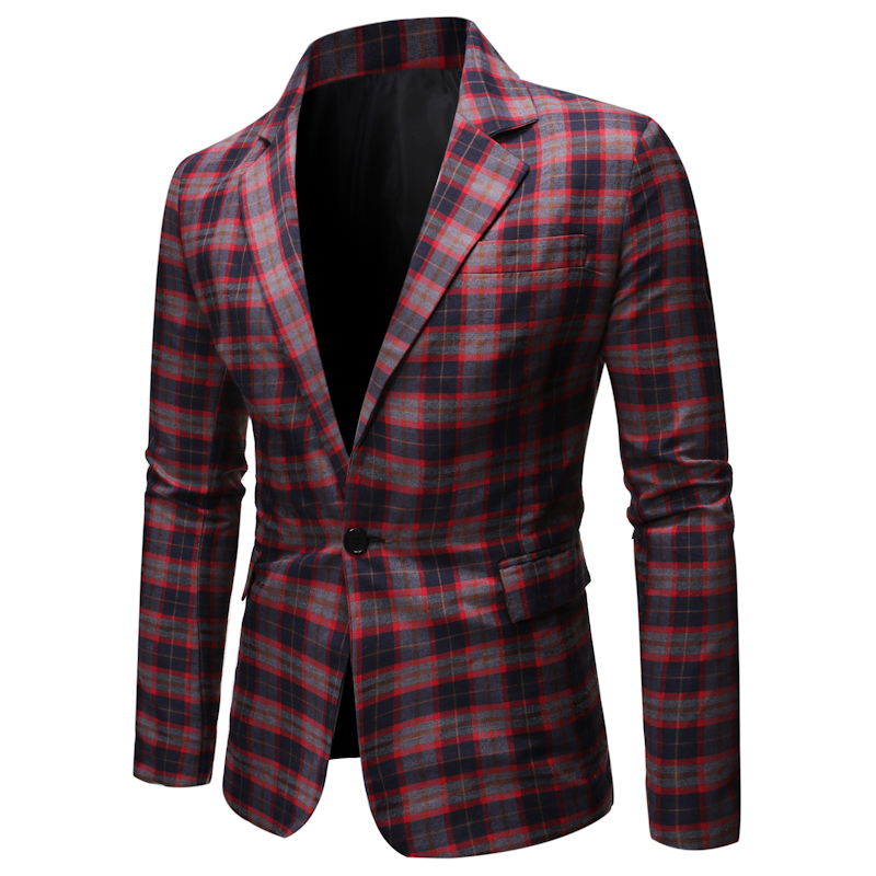Mens Suits Blazers 2020 Autumn And SpringLeisure Suit New Checked Men's Suits