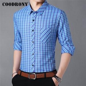 Image 2 - Camiseta de marca COODRONY para hombre, camisas casuales de calle, Camisa de algodón de manga larga de otoño, Camisa Masculina a cuadros con bolsillo 96092