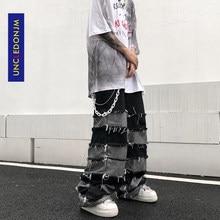 UNCLEDONJM – jean à franges pour hommes, pantalon de marque tendance, pendentif Ins, jambes larges, style Hip Hop, paresseux, coupe vent, pantalon de Couple, ample, N06