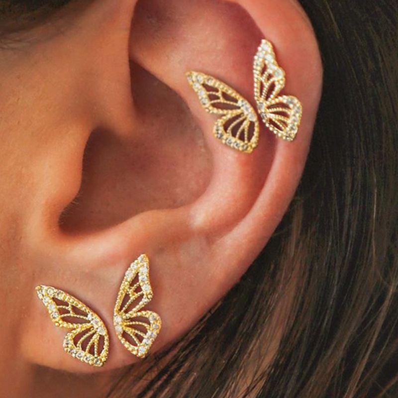 2020 Fashion Butterfly Cartilage Stud Earrings For Women Gold Color Crystal Personality Creative Earrings Ear Piercing Jewelry
