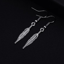Trendy Feather Shape Dangle Antique Silver Plated Earrings for Women Girl Retro Drop Earrings Cute Earring Jewelry Bijoux(China)