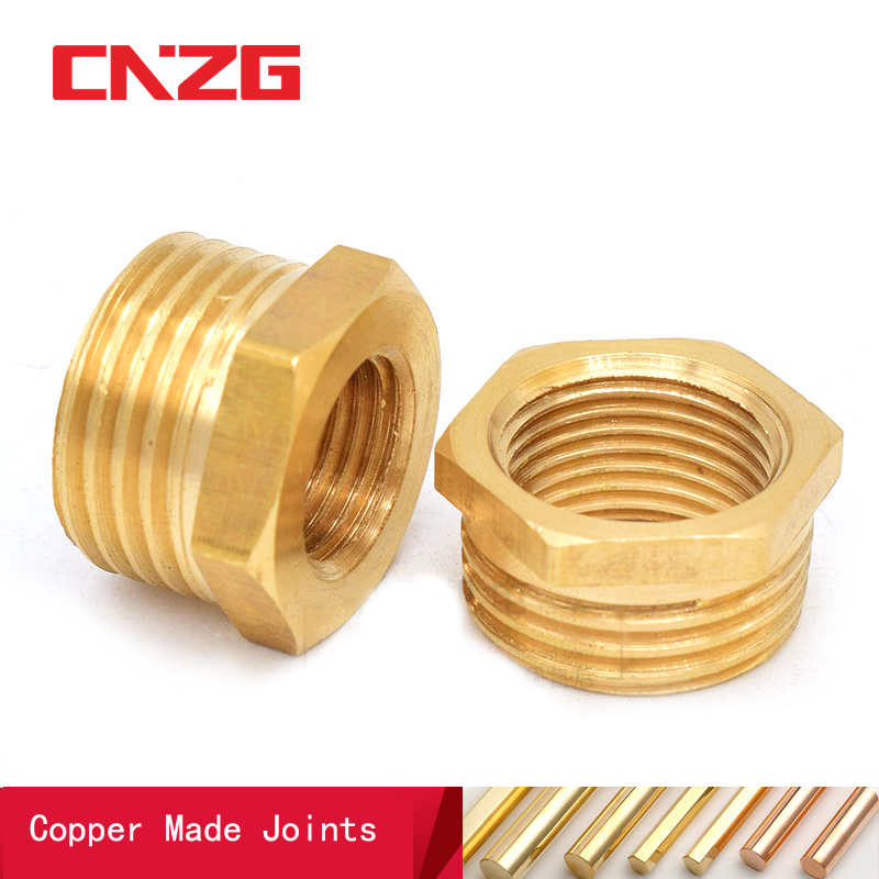 Brass Adapter Fitting BSP Reducing Hexagon Bush Bushing Male To Female Connector Fuel Water Gas Oil 1/8