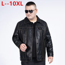 10XL 8XL 6XL Mens Jacket Herfst Winter Turn-Down Kraag Rits Faux Lederen Motorjas Korte Jas Winddicht Warm jas(China)
