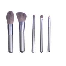5 pçs conjunto de maquiagem prata punho madeira sombra olho fundação para senhora escova ferramentas protable viagem beleza lábio corretivo escovas conjuntos