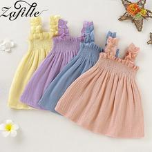 ZAFILLE Casual Sleeveless Dress Cute Toddler Princess Kids Sundress Summer Cotton Lovely Baby Girl Clothes Solid Girls Dress lovely toddler kids baby girls pumpkin floral dress party short sleeve dress sundress halloween cute clothes summer suit
