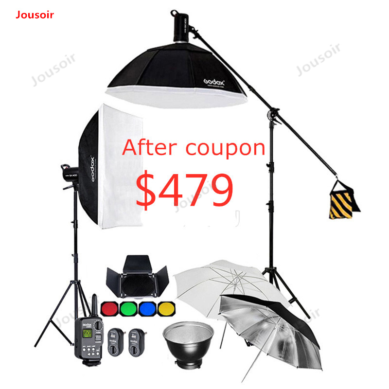 2x Godox SK400 400WS GN65 Studio Flash Kit d'éclairage stroboscopique + 60x90 cm/95 cm Softbox + support de lumière & bras de flèche + déclencheur CD50 T03 K1