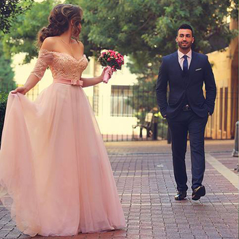 цена на Arabic Pink Long Vestido De Festa Lace Beaded Off the Shoulder Half Sleeves Formal Gown For Valentine's Day bridesmaid dresses