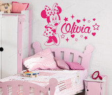 Minnie Wall Decal  Custom Name Decals Personalized wall sticker vinyl girls room wall decor kids bedroom art mural JH101 personalized vinyl wall stickers boys room wall decor kids custom name bedroom wall decal removable wall art mural jh226