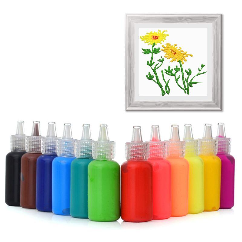 1 Set 6/12Colors 3D Acrylic Pigment Watercolor Paint Drawing Art DIY Handmade Painting Tool Supplies