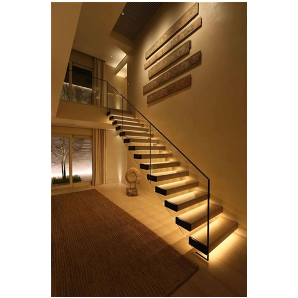 Modern Stair Floating Straight Stairs Interior Staircase With Wood | Modern Staircase Glass Railing Designs | Commercial Building | Glass Panel Wooden Handrail | Side Glass Rail | Glass Stair | Modern Aluminium