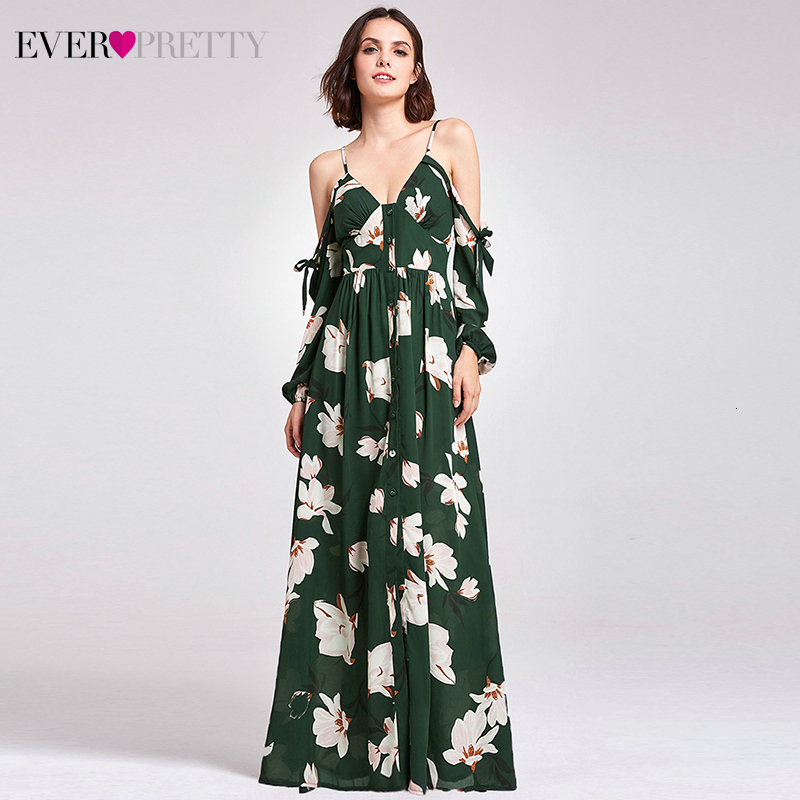 Vestido De Formatura Floral Printed Homecoming Dresses Ever Pretty A-Line V-Neck Cold Sleeve Elegant Formal Party Gowns 2020