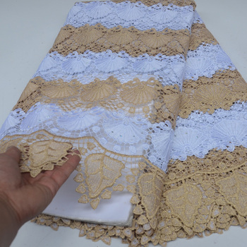 (5yards/pc) High quality African guipure lace fabric fashion big cord lace fabric in white and gold for party dress  WLP041