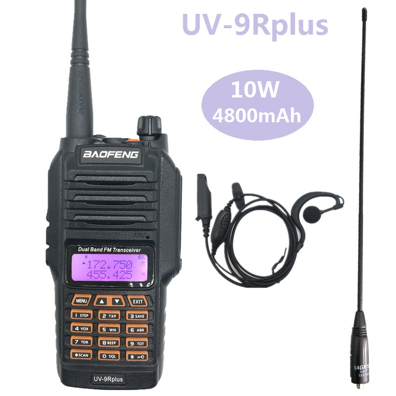 10W BAOFENG UV-9R PLUS  Fishing Walkie Talkie Waterproof 10KM Dual Band UHF VHF High Power Transceiver CB Ham Radio UV 9R VOX