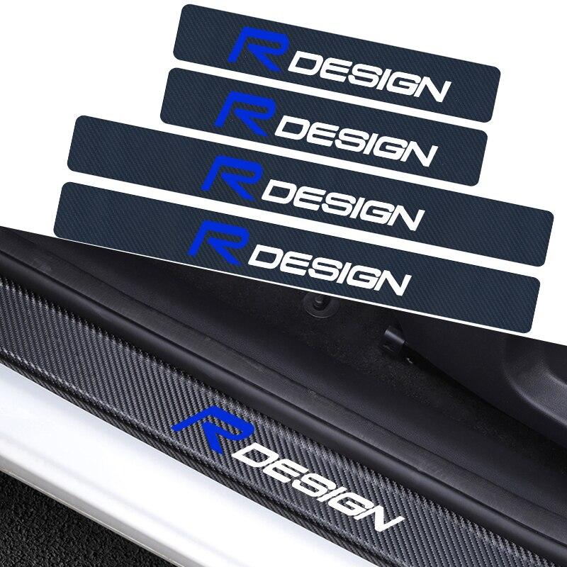 4 шт., автомобильный Стайлинг, эмблема RDESIGN, углеродное волокно, защита порога автомобиля, наклейка для Швеции Volvo XC60 XC90 V40 V60 S90 S60L