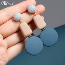 BICUX 2019 New Korean Summer Blue Geometric Acrylic Wood Square Earrings for Women Fashion Pompom Dangle Earring Jewelry