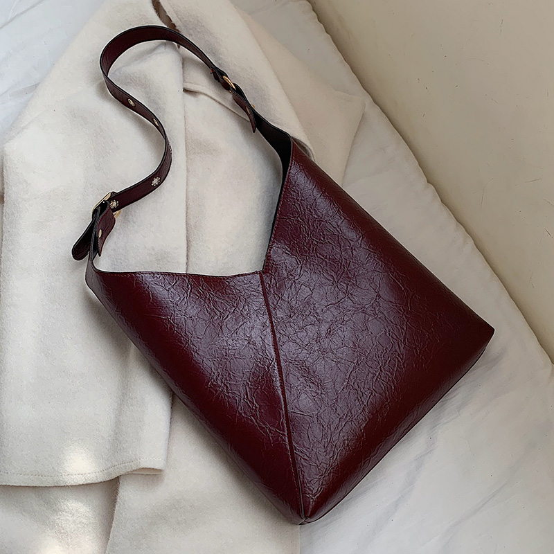 Solid Color Vintage Leather Bucket Bags For Women 2020 Shoulder Crossbody Messenger Bag Female Small Handbags And Purses