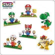 ZMS Game Super Mario Luigi Yoshi Bowser Fire Tanooki Mario 3D Model Mini Building Diamond Small Blocks Toy Flower Coin no box