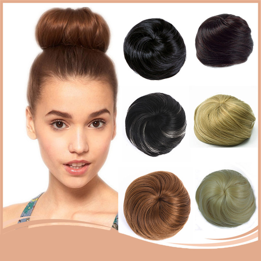 Girls Brown Blonde Bun Chignon Synthetic Chignon For White Hairpieces Roller Donut High Temperature Fiber For Women Headwear