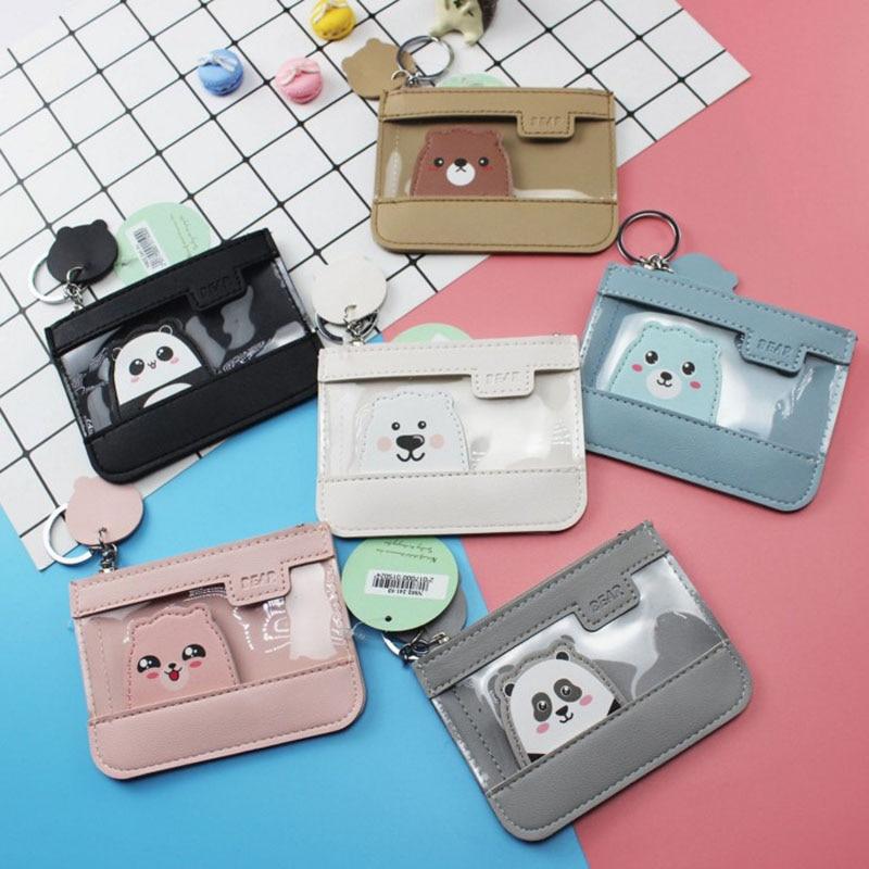 1 Pcs Cute Kawaii Bear Panda Transparent Mini Card Bags Coin PU Leather Girls Card Holder For Kids Purse Key Children Bag