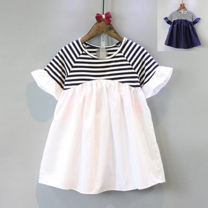 Girls Wear 2019 Summer New Cute Princess Doll Dress Striped College Style Short Sleeve Splice Dress