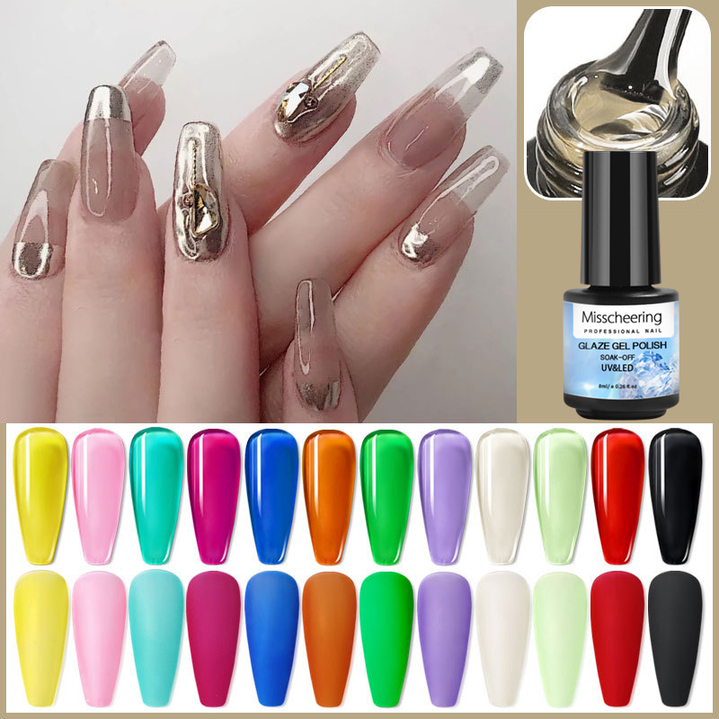 Лак для ногтей Гибридный лак Янтарный винно-красный лак для ногтей Прозрачный популярный цвет верхнее покрытие Блестящий Янтарный клей для...