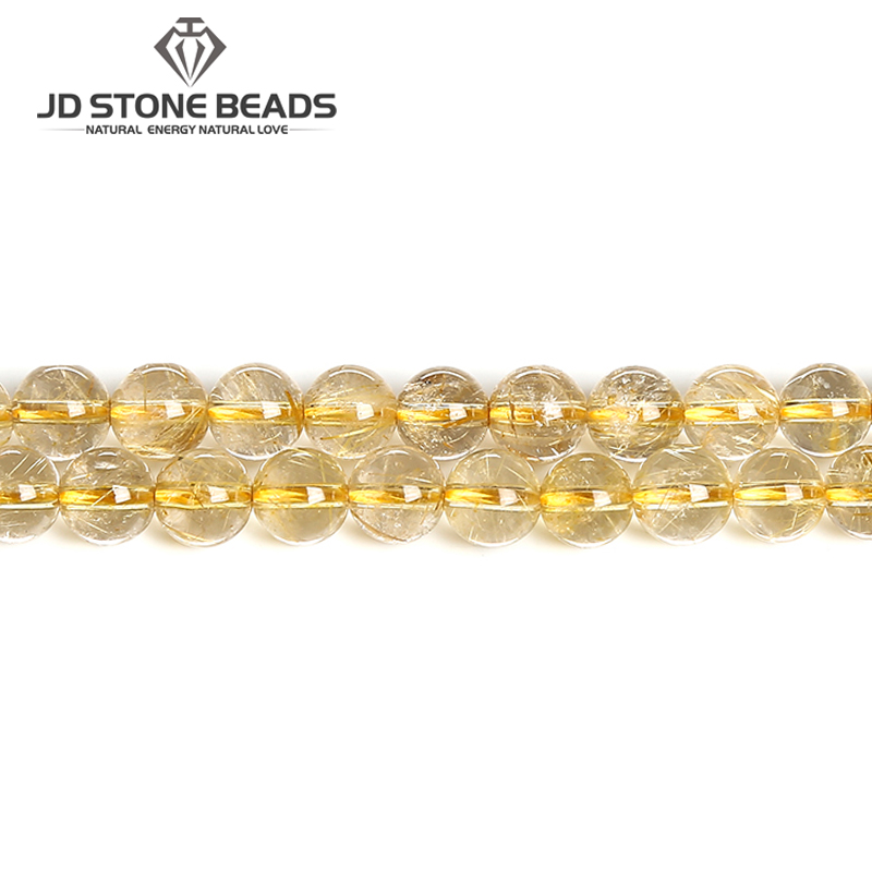 Natural Gold Rutilated Quartz High Quality Energy Hair Crystal Yellow Round Gemstone 6 8 10mm Diy Charm Beads For Jewelry Making