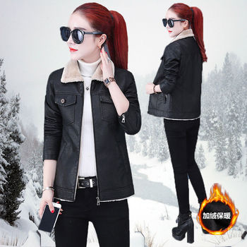 Pu Leather Jacket Women Fashion Outerwear Zipper Coral Fleece Collar Motorcycle Coat Short Faux Leather Biker Jacket women floral print embroidery faux soft leather jacket coat turn down collar casual pu motorcycle black punk outerwear zogaa