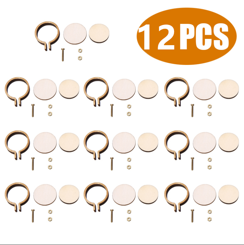 12pcs/set Wooden Mini Embroidery Hoop Ring Cross Stitch Frame Handmade Pendant Crafts Embroidery Circle Sewing Kit