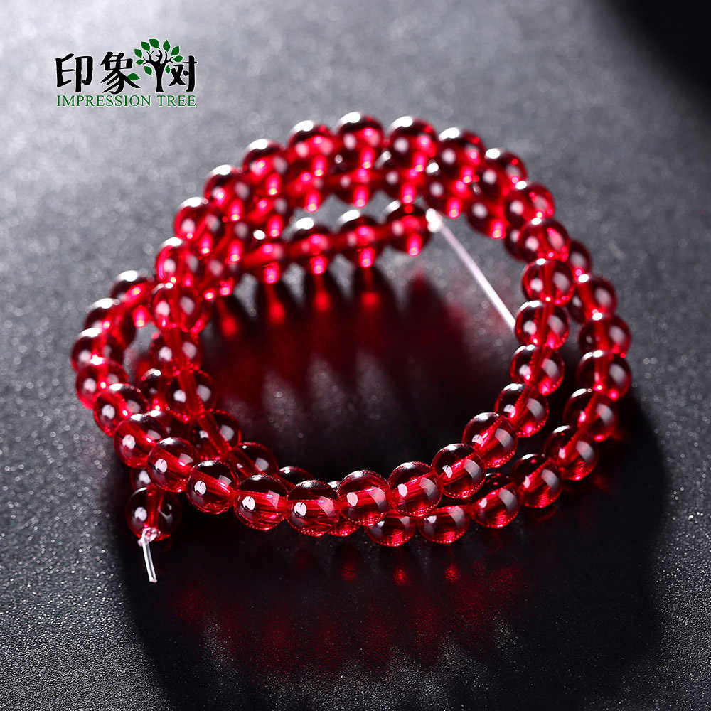 1pcs Pick Size 4/6/8/10/12/mm Round Simulate Garnet Glass Bead Loose Spacer Beads For Necklace Bracelet DIY Jewelry Makings 2954