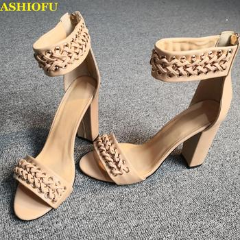 ASHIOFU Handmade Ladies High Heel Sandals Ankle Wrap Open-toe Summer Sandals Party Prom Casual Fashion Sandals Shoes