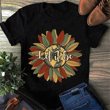 Hippie Sunflowers Let It Be Hippie Soul Vintage T-Shirt Black Cotton S-3Xl Shirt Tee Tshirt Tee Shirt