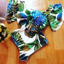 Цельный купальник с оборками для женщин, Одноцветный купальник с рукавами, сексуальный купальный костюм с открытой спиной, монокини, Пляжное боди Bain