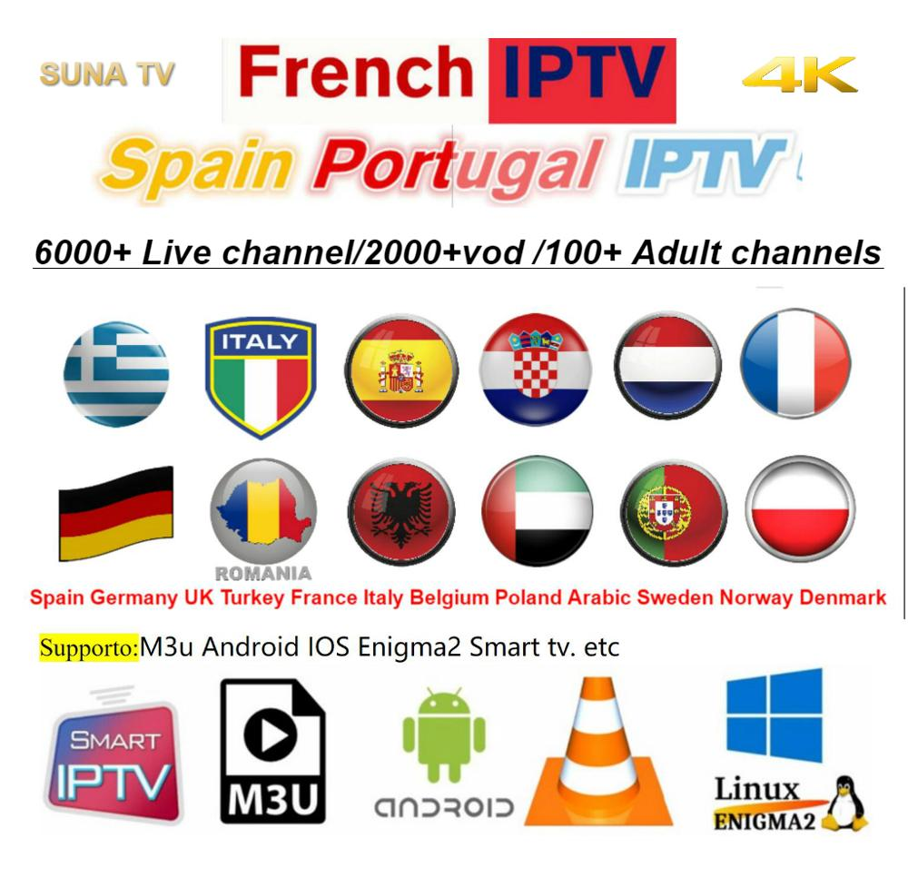 Europa IPTV Abonnement Sansat Frankrijk UK Duits Arabisch Nederlandse Zweden Franse Polen Portugal Smart TV IPTV M3U 7000 Live