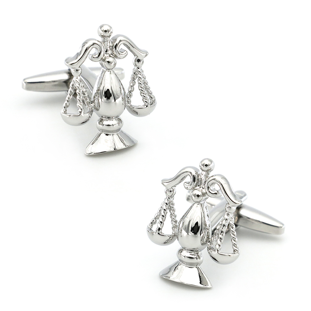 Court Design Justice Cufflinks For Men Quality Copper Material Silver Color Cuff Links Wholesale&retail