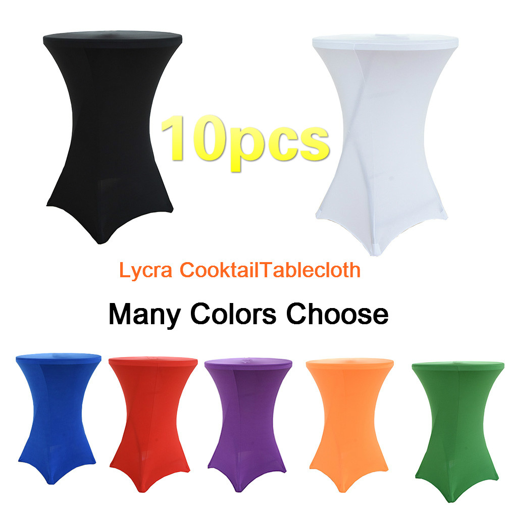 10pcs Round Lycra cocktail Tablecloth Wedding Spandex Table Cloth Table Cover Overlay Hotel mariage White Tablecloths Polyester